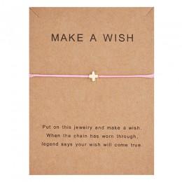 Karta życzeń regulowane ręcznie tkane liny bransoletka Femme minimalistyczny serce korona okrągły ciąg Ehthic bransoletka moda k