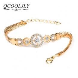 QCOOLJLY Luksusowe Okrągły Kryształ CZ Ręcznie Bransoletki Łańcuchowe dla Kobiet Złoty Kolor Twisted Bransoletka i Bransoletki D