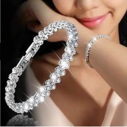 3 Kolor Kobiety Moda Roman Style Woman 925 Sterling Silver Kryształowe Bransoletki Prezenty