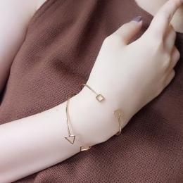 Darmowa wysyłka Koreański kobiety metal biżuteria projekt akcesoria prezent geometria trójkąta okrągły bransoletka proste temper