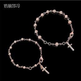 Katolicki złoty jezus bransoletka z krzyżem Rose koralik bransoletka biżuteria najświętszego serca jezusa centrum różaniec pani
