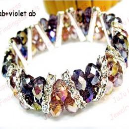 Moda Handmade dwa rzędy fioletowy AB i fiołek AB Rondelle szkło kryształowe koraliki Strand bransoletka jeden kawałek