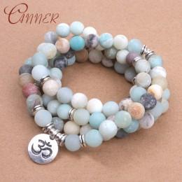 CANNER amazonit kamień bransoletki bransoletki Lotus Charm bransoletki dla kobiet Boho biżuteria joga Balance koraliki bransolet