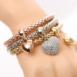 3 sztuk/zestaw kryształ sowa serce uroku bransoletki i bransolety złoty/posrebrzane słoń kotwica wisiorki kryształowe bransoletk