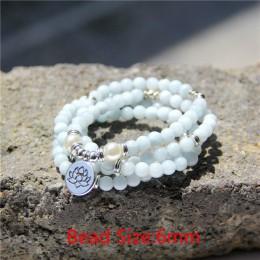 Kobiety bransoletka kamień naturalny koraliki na bransoletkę Aquamarin z lotos urok bransoletka joga 108 naszyjnik mala dla mężc