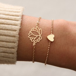 2 sztuk/zestaw urok romantyczny bransoletki Bangle/bransoletki bransoletka zestaw dla kobiet złoty Metal ze stopu kwiaty serce L