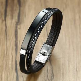 Vnox wielowarstwowy skórzane bransoletki dla kobiet mężczyzn konfigurowalny grawerowanie sztabka ze stali nierdzewnej bransoletk