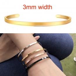 Inspirujące bransoletka mankiet Bangle dla kobiet różowe złoto srebro grawerowane bransoletki żona narzeczony personalizowane pr