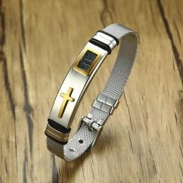 Vnox regulowana długość bransoletka dla kobiet bransoletka męska Watch Band projekt zespół ze stali nierdzewnej netto chrystusa