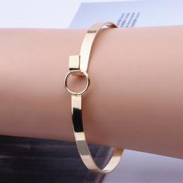 Nowe Modne Dodatki Biżuteria Proste Metalowe Okrągłe Bransoletki Minimalistyczny Design Przysłony Bransoletka Bangle dla Kobiet