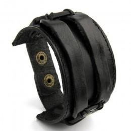 BAMOER skórzany mankiet podwójne szeroka bransoletka liny bransoletki brązowy dla mężczyzn moda mężczyzna bransoletka biżuteria