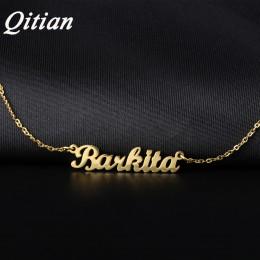 Qitian nazwa naszyjnik złoty kolor ze stali nierdzewnej spersonalizowane niestandardowe naszyjniki, nazwa niestandardowa naszyjn