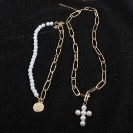 KMVEXO luksusowy projekt imitacja perły Choker naszyjnik kobiet krzyż wisiorek naszyjniki dla kobiet 2019 moda złota moneta biżu