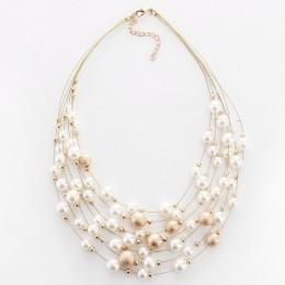 KMVEXO 2018 nowa moda biżuteria złoty kolor wielowarstwowe łańcuchy imitacja naszyjniki z pereł dla kobiet wesele panna młoda na