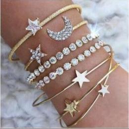Złoty Srebrny Kryształ 4 sztuk/zestaw Charm Bransoletki i Bangles Dla Kobiet Gwiazda Księżyc Serce Miłość Bransoletka Boho India