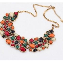 MINHIN nowy popularne 20 kolory Multicolor duży wisior łańcuszek do obojczyka naszyjnik kobiet delikatna biżuteria bankietowa