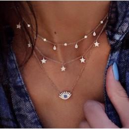 W stylu Vintage wielowarstwowe złote naszyjniki dla kobiet Kolye moda księżyc gwiazda kryształ Chain naszyjniki i wisiorki Boho