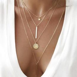 RAVIMOUR Boho Choker naszyjniki kobiety złota gwiazda okrągły naszyjnik z wisiorem w kształcie monety łańcuch czeski seksowna bi