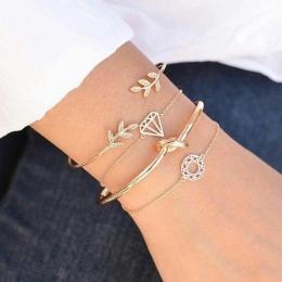 Tocona 4 sztuk/zestaw Otwarcie Liść knot Charm Mankietów Bransoletki Zestaw dla Kobiet Stop Złota Bransoletka Boho Biżuteria Akc