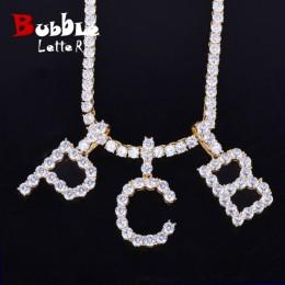 Cyrkon tenis litery naszyjniki i wisiorek dla mężczyzn/kobiet złoty kolor srebrny moda biżuteria Hip Hop z 4mm tenis łańcuch
