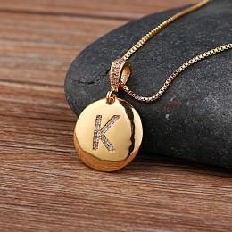 Najwyższej jakości kobiety dziewczyny początkowa list naszyjnik złoty 26 litery urok naszyjniki wisiorki miedzi CZ biżuteria spe