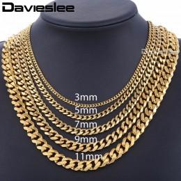Męskie naszyjniki łańcuchy ze stali nierdzewnej srebrny czarny złoty naszyjnik dla kobiet mężczyzn Curb kubański Davieslee biżut