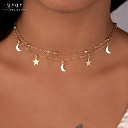 Nowa biżuteria 2 warstwy gwiazda księżyc choker naszyjnik miły prezent dla kobiety dziewczyna (zamówienie 3 sztuk mają 15% zniżk