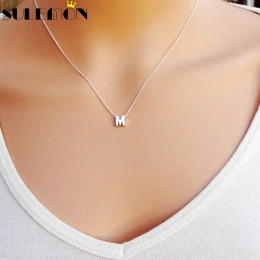 Moda Srebrny Początkowe Amulety Naszyjnik Wisiorek Metalowe Litery Dla Biżuterii Spersonalizowanej Wycięte Litery Pojedyncze M N