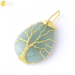 CSJA złoty kolor drzewo życia naszyjnik wisiorek Wire Wrap kamień naturalny klejnot różowy kwarc tygrysie oko zielony awenturyn