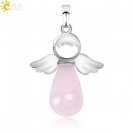 CSJA naturalne kamienie anioły skrzydła wisiorek dla naszyjnik różowy kwarcowy Onyx wisiorki srebrny kolor kropla wody damska bi
