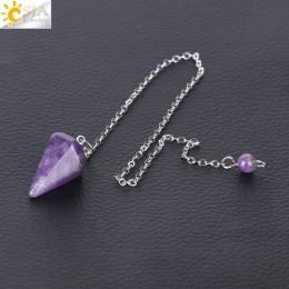 CSJA mały rozmiar Reiki Healing wahadła naturalne kamienie wisiorek Amulet medytacja kryształ sześciokątne wahadło dla mężczyzn