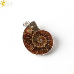 CSJA kamień naturalny amonit skamieniałości muszla ślimak wisiorki Ocean Reliquiae konch zwierząt naszyjniki komunikat biżuteria