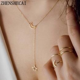 Księżyc Gwiazda Łańcuch Naszyjnik Moda biżuteria 2017 kolor złoty długi wisiorek prosty naszyjnik dla kobiet dziewczyna prezent