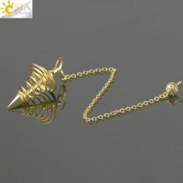 CSJA metalowe wahadło Amulet spirala stożkowa antyczne miedzi złoto srebro kolor wahadła do radiestezji piramidy Pendule biżuter