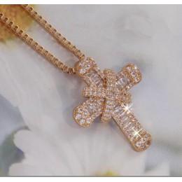 Luksusowe krzyż wisiorek naszyjnik czysta cyrkonia naszyjnik wisiorek dla kobiet mężczyzn prezent na Boże Narodzenie