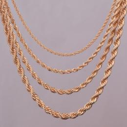 """16 """"18"""" 20 """"24"""" złoto rope kolii 2mm, 3mm, 4mm, 5mm Dla wisiorek liny ocena biżuteria"""