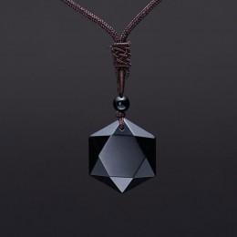 Bruce zaakceptować Drop Shipping naturalny kamień energetyczny czarny obsydian sześć gwiazdek szczęście Amulet naszyjnik wisiore