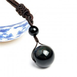 Czarny obsydian Rainbow Eye koraliki Ball kamień naturalny naszyjnik wisiorek Transfer szczęście miłość kryształ biżuteria darmo