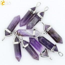 CSJA Bullet Shape kamień naturalny wisiorek prawdziwe fioletowy kryształ mężczyźni kobiety Chakra kamienie szlachetne kwarcowy w