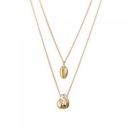 Yhpup Trendy moda Shell złoty stop cynkowy Multi warstwy łańcucha wisiorek naszyjnik z amuletem Metal kobiety Party czeski naszy