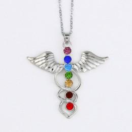 DIY Reiki 7 kryształowe koraliki Chakra wisiorek joga medytacja i anioł kształt kwarcowy kryształ naszyjnik Healing punkt wisior