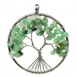 7 Chakra kamienie kryształowe naszyjniki wisiorki kamień naturalny drzewo życia Pendulum wisiorek naszyjnik dla kobiet Healing R