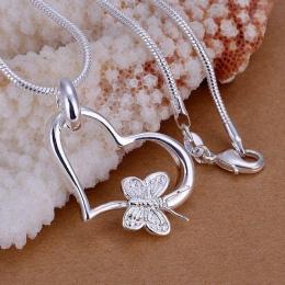 Hurtownie posrebrzane wisiorek, 925 moda biżuteria Srebrna motyl serca wisiorki naszyjnik dla kobiet/mężczyzn + łańcuch SP090