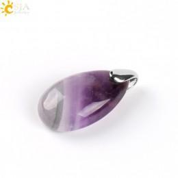 CSJA Natural Gem Stone Water Drop Necklaces Pendants Tiger Eye Lapis Lazuli Clear Crystal Opal Reiki Healing Jewellery Gift E526