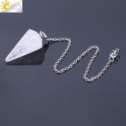 CSJA duży rozmiar mężczyźni kobiety naturalne leczenie klejnot kamień biżuteria Reiki piramidy sześciokątne łańcuch wahadłowy wi