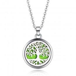 Drzewo życia ze stali nierdzewnej aromat Box naszyjnik magnetyczny aromaterapia OLEJEK ETERYCZNY dyfuzor Box medalion wisiorek –
