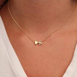 Moda Dainty Tiny Heart Nazwa Naszyjnik Spersonalizowany List Początkowa Naszyjnik Biżuteria dla kobiet akcesoria dziewczyną prez