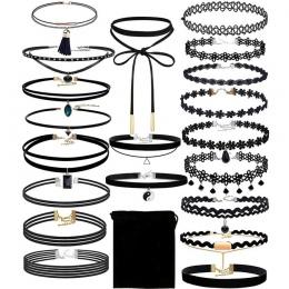 Nowy Biżuteria sexy ladies Choker 20 sztuk Choker Naszyjnik Zestaw Odcinek Aksamitna Klasyczne Gothic Tatuaż Koronka Choker #30