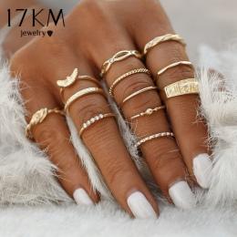 17 KM 12 sztuk/zestaw Urok Złoty Kolor Midi Finger Ring Set dla kobiety W Stylu Vintage Boho Knuckle Party Rings Punk Biżuteria