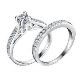 Posrebrzane Obrączkę Miłośników Shellhard Kryształ Para Pierścienie Zestaw Dla Kobiet Mężczyzn Biżuteria Zaręczynowe Obrączki 2